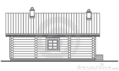 Detailed drawing of wooden sauna building facade