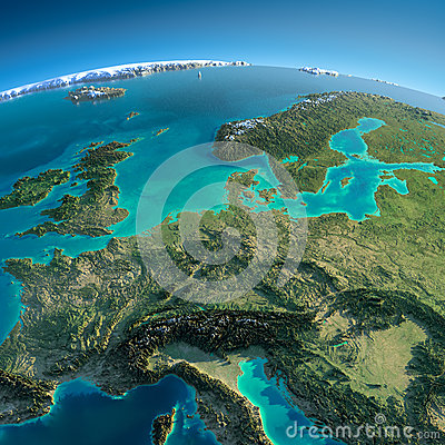 Free Detailed Earth. Central Europe Royalty Free Stock Photos - 38729918