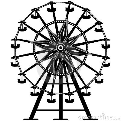 Detailed Ferris Wheel in  silhouette