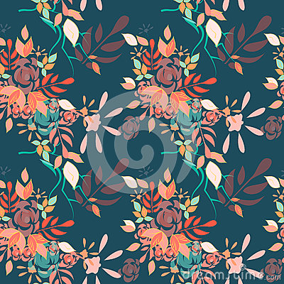 Detailed floral multicolored seamless pattern Vector Illustration