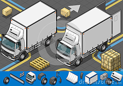 Isometric container refrigerator truck in front view