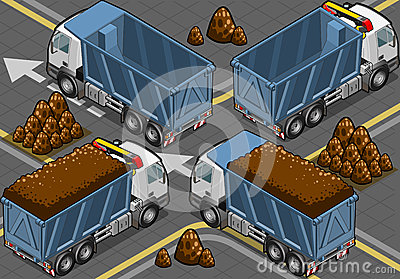 Isometric containers trucks in rear view