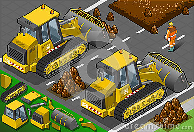 Isometric Yellow Bulldozer in Rear View