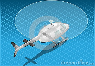 Isometric white helicopter in flight