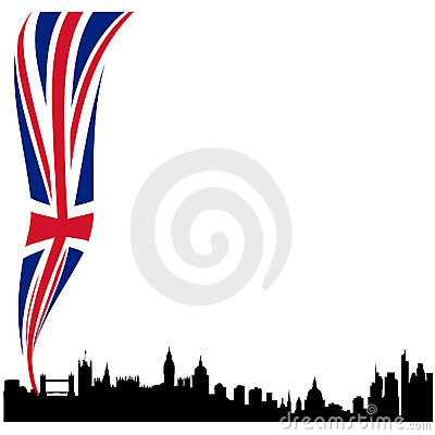 Detailed London silhouette skyline with flag