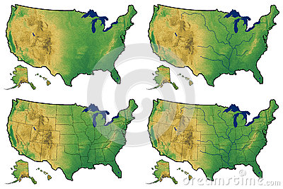 Four versions of physical map of United States