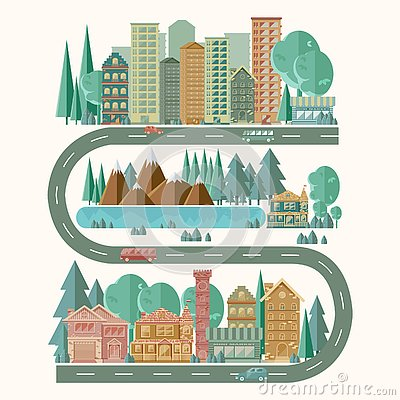 Detailed picture of a city landscape. Active lifestyle.Easy editable for drawing up new options for the location of buildings. Vector Illustration