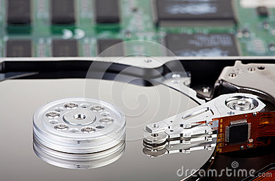 Detailed Picture of a opened hard disk drive