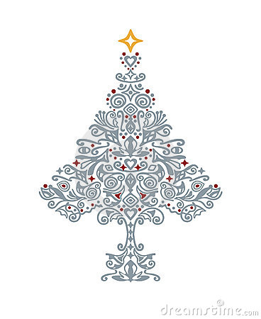 detailed silver christmas tree stock image image 10472461