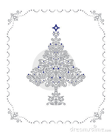 Detailed silver Christmas tree in a frame