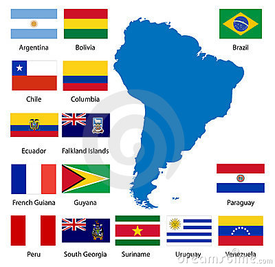 Detailed South American flags