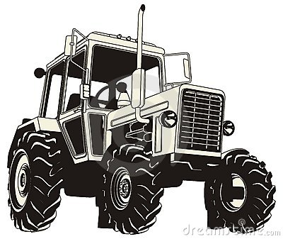 Detailed tractor silhouette