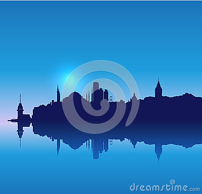 Detailed vector Istanbul silhouette skyline