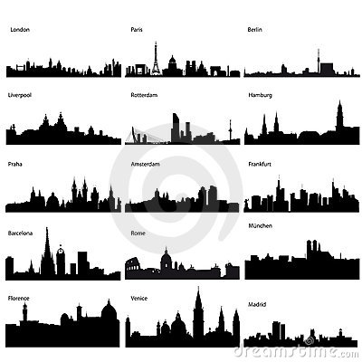 Free Detailed Vector Silhouettes Of European Cities Stock Image - 12028531