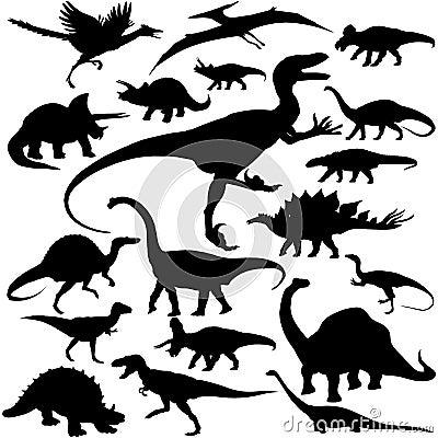 Detailed Vectoral Dinosaur Silhouettes