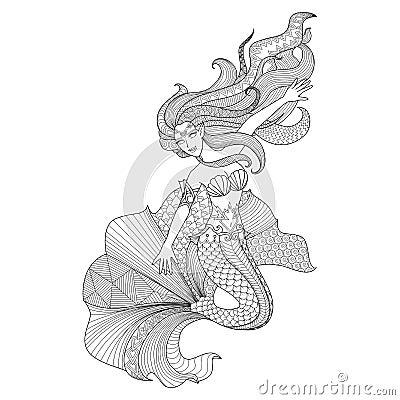 Detailed Zentangle Mermaid For