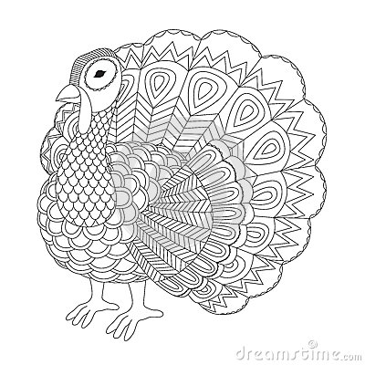 Detailed Zentangle Turkey For Coloring