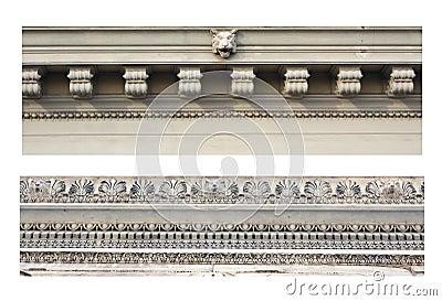 Details of ancient ornamental friezes
