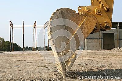 Details of backhoe on digger