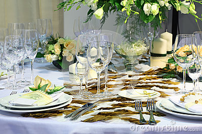 Details of beautiful table set for wedding dinner