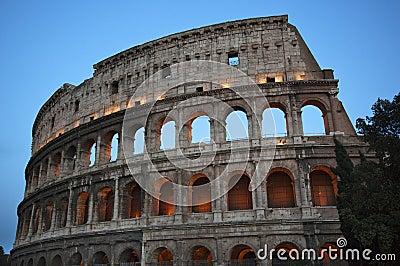 Details Colosseum Evening Rome Italy
