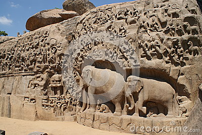 Details of Descent of the Ganges in Mahabalipuram, India