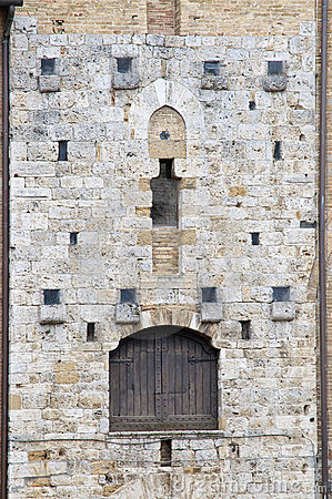 Details with door of medieval architecture