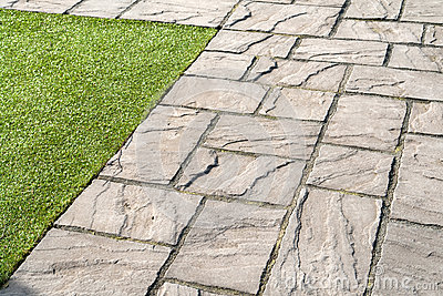Details Of Gray Stone Garden Tiles Stock Photo Image