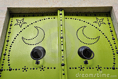 Details of Green Tunisian door, diverse colour