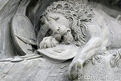 Details of the Lion of Luzern in Switzerland