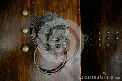 Details of lion-shaped door knocker