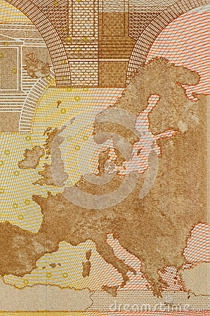 map on euro banknote of 50 face value
