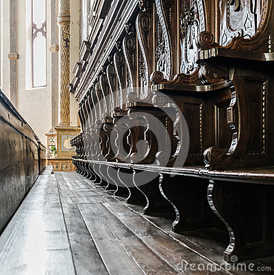 Free Details Of Wooden Pews Next To The Altar Of A Medieval Church. Stock Photography - 72725982
