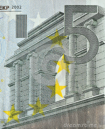 a close look of euro banknote of 50 face value