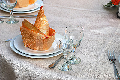 Details of a table set for fine dining