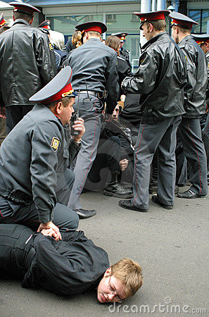 Detained protester Editorial Photography