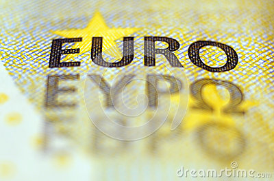 Detalhe da cédula do Euro
