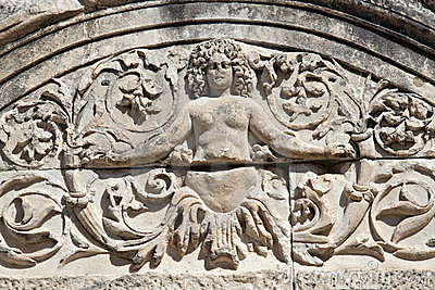Detalhe de templo de Hadrian, Ephesus, Turquia