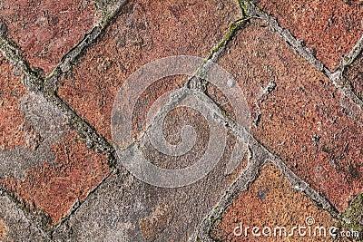 Detalhe medieval velho do teste padrão do pavimento do tijolo