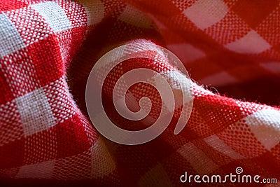 Detalhe vermelho do teste padrão de pano do piquenique
