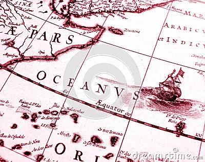 Detalhes na carta antiga da navigação