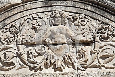 Detalj av Hadrians tempel, Ephesus, Turkiet