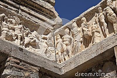 Detalle del templo de Hadrian, Ephesus