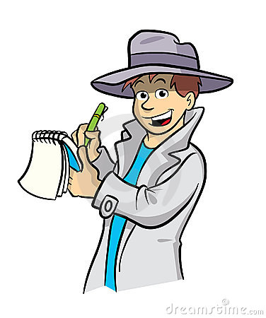 Detective cartoon illustration