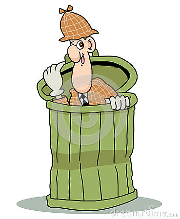 Detective hiding in dustbin