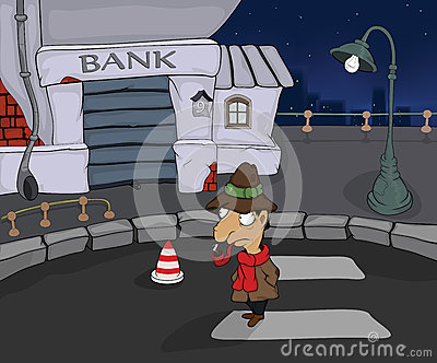 The detective in a night city. Cartoon