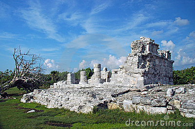 Deteriorated Mayan Ruins Near the Beach
