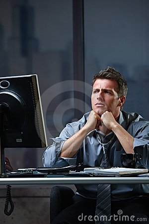 Determined businessman concentrating