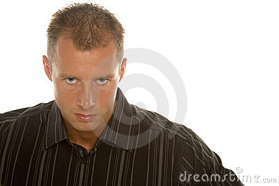 Determined businessman in dress shirt