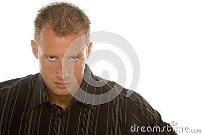 Determined businessman in dress shirt